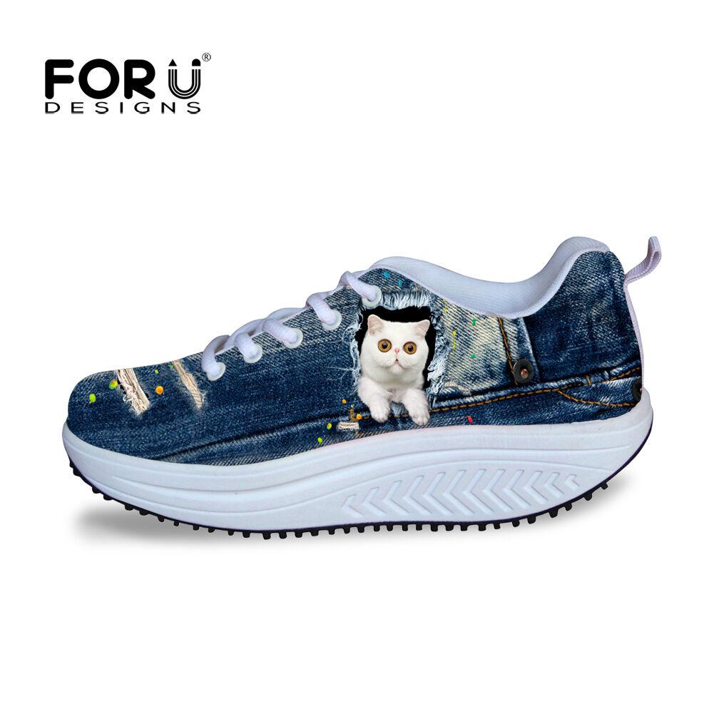 Women Ladies bluee Jane Print Toning shoes Platform Sneakers Wedge Swing shoes