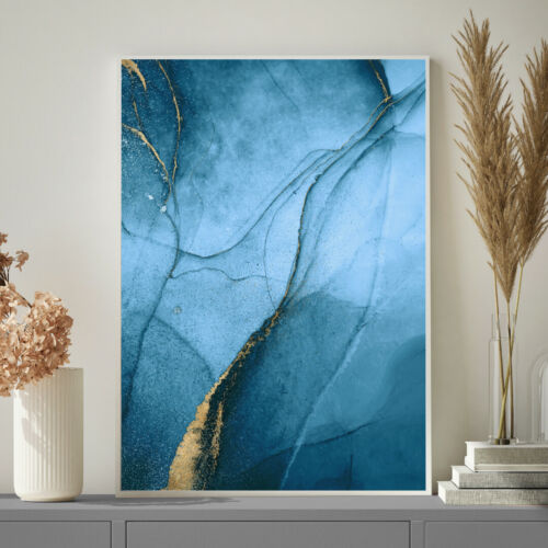 Blue and Gold Minimalist Watercolour Painting Wall Art Print Poster A4 A3 A2 A1