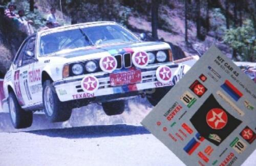 "DECAL CALCA 1//43 BMW 635 CSi /""TEXACO/"" J.M.PONCE RALLY CORTE INGLES 1985"