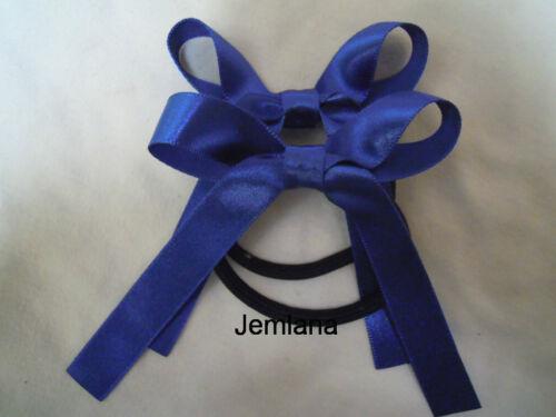 ..Set of 2 hair ties Satin ribbons Jemlana/'s handmade school hair ties