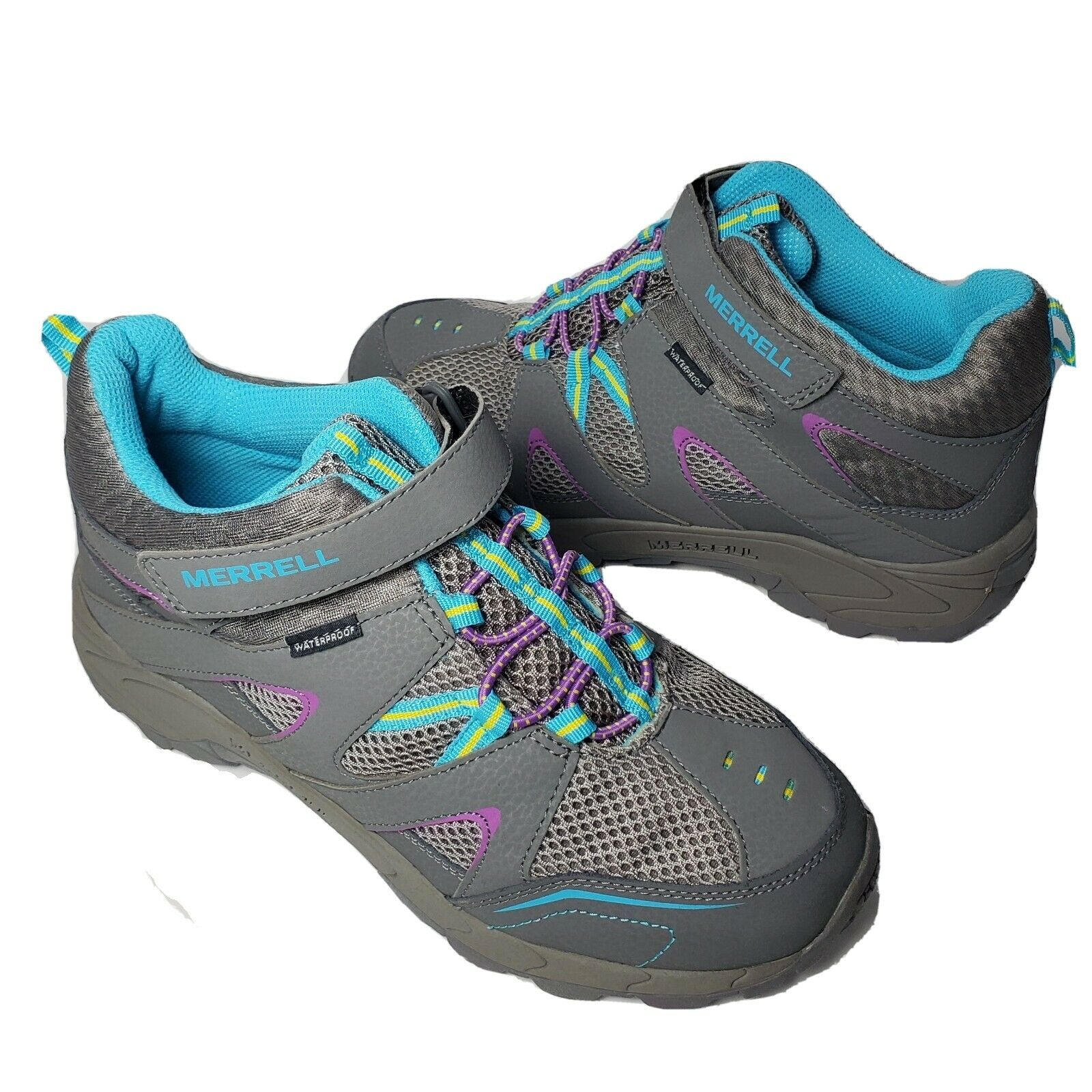 Merrell Hilltop Mid Quick-CL Hiking Trail Shoes Womens Youth Girls 6.5 37.5