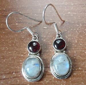 Moonstone Double Gemstone 925 Sterling Silver Dangle Earrings Corona Sun
