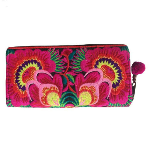 Hmong Hilltribe Boho Ladies Zip Wallet Bold Deluxe Flower Design from Thailand
