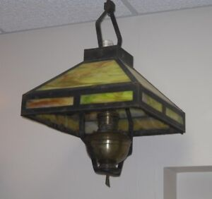 Details About Original Antique Slag Stained Glass Mission Style Hanging Kerosene Lamp