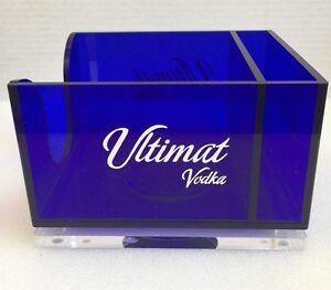 Ultimat Vodka Bar Caddy Napkin Straw Coaster Acrylic Blue Man Cave