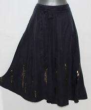 MONSOON Dark Grey Charcoal Silk Satin Sequin Midi Skirt 12 EU 40 M Formal