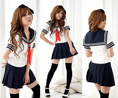 New Japanese High School Girl Sailor Uniform Cosplay Costume dress fancy Set
