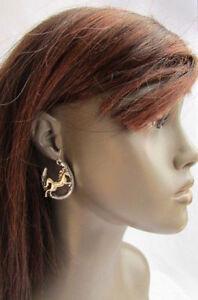 Women-Silver-Metal-Horseshoes-Horse-Western-Cowgirl-Fashion-Hook-Dangle-Earrings