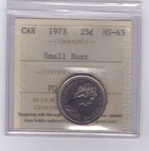 1973-Canadian-25-Cents-034-Small-Bust-034-ICCS-MS-65-NO-SALES-TAX
