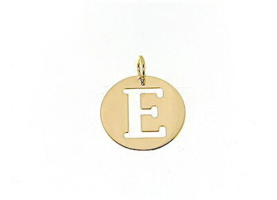 18K YELLOW GOLD LUSTER ROUND MEDAL WITH LETTER S MADE IN ITALY DIAMETER 0.5 IN