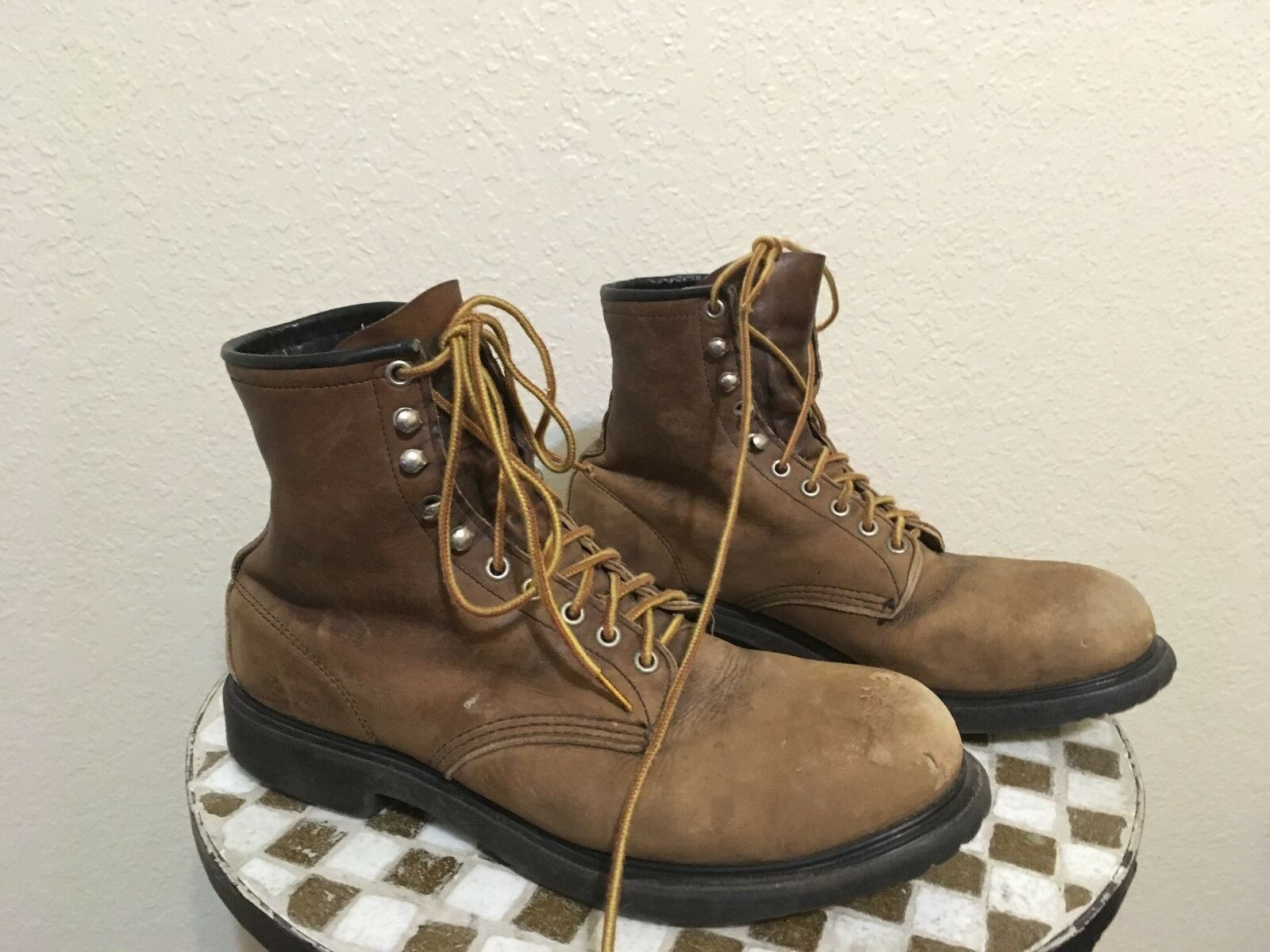 STEEL TOE USA DISTRESSED marrón rojo WING 2333 USA VINTAGE LACE UP botas 11.5 D
