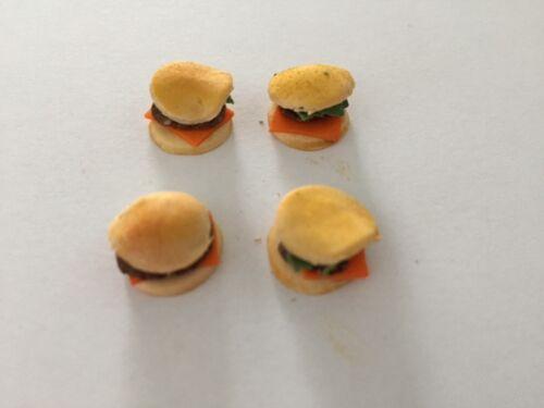 Casa De Muñecas alimentos hamburguesas en bollos escala 12th hecho a mano nuevo Conjunto de 4