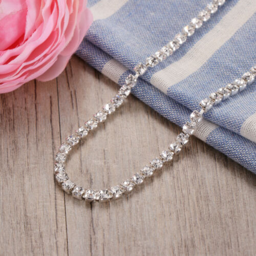 10M Crystal Glass Rhinestone Compact Close Silver Chain Trims Applique 2//4mm Dia