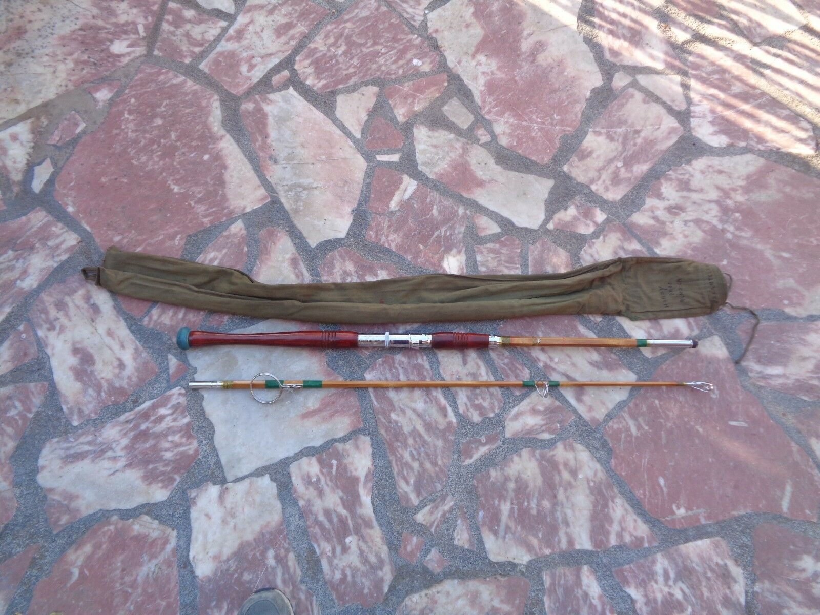 Ancienne canne à pêche de Traine blu ROBIN Bambou refendu Très RARE SUPERBE Mer