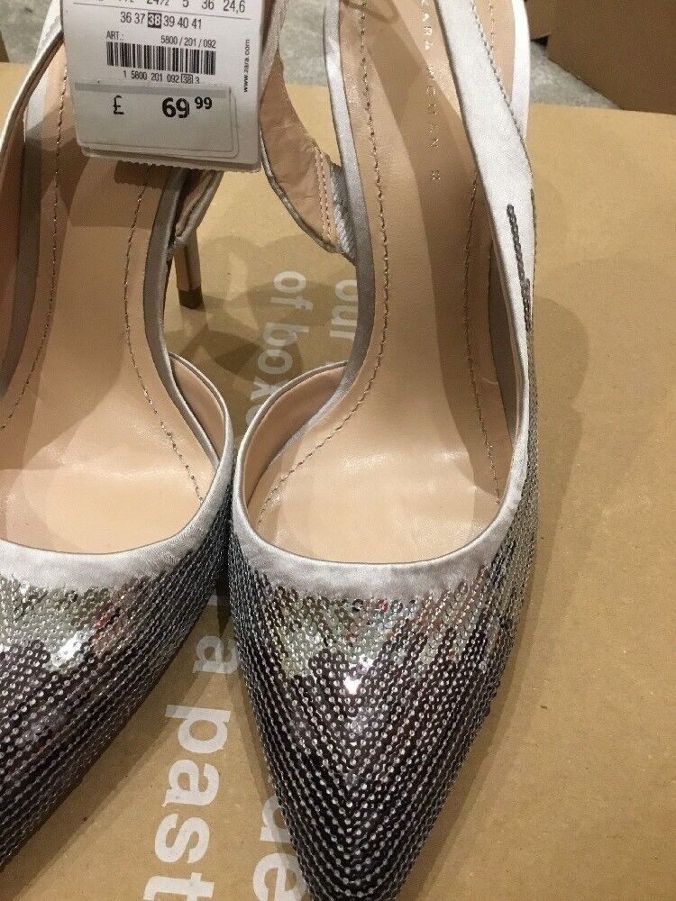 ZARA SILVER SEQUIN SLINGBACK SHOES SIZE 5 38  BNWT