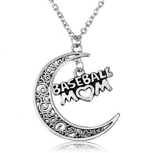 Baseball-Mom-Charm-Vintage-Necklace-Pendant-Gift-Women-Dress-Moon-Hollow-Out