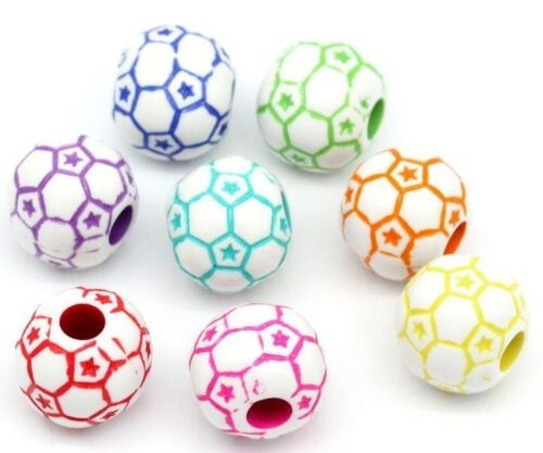 FAST FREE SHIPPING 50 COLOURFUL BEAUTIFUL FOOTBALL BEADS 12MM ROUND BEADS