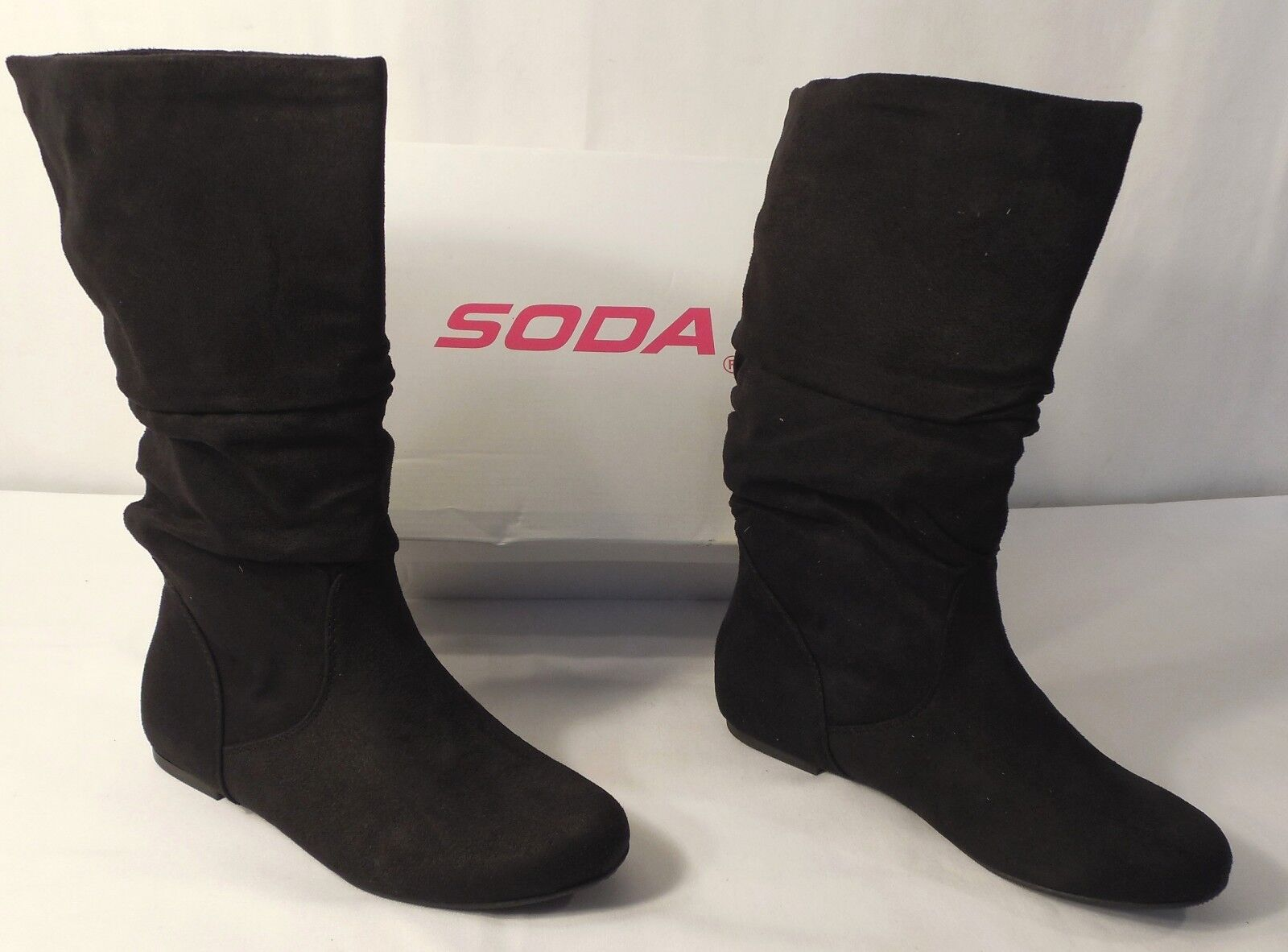 SODA SHOES Zurich-S Mid-Calf Faux Suede Slouchy Flat Heel Boot, Black, 7.5 w/BOX