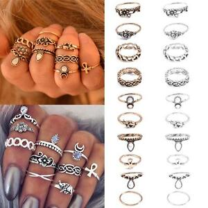 10pcs-Set-Women-Punk-Vintage-Knuckle-Tribal-Ethnic-Hippie-Stone-Joint-Ring-Midi