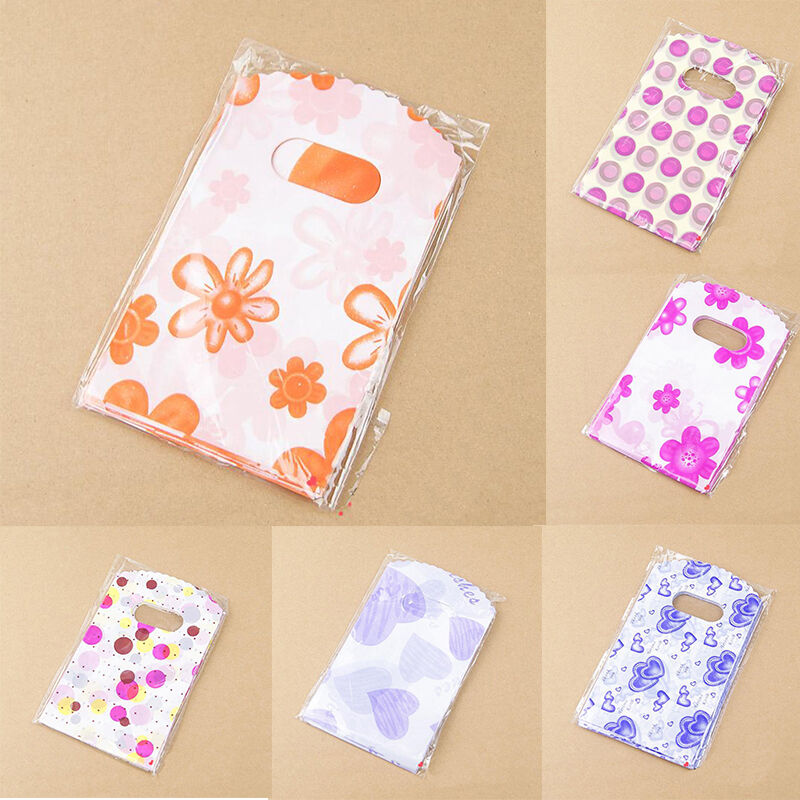 50X Wholesale Pretty Mixed Pattern Plastic Gifts Bags Shopping Bags 15x9Cm