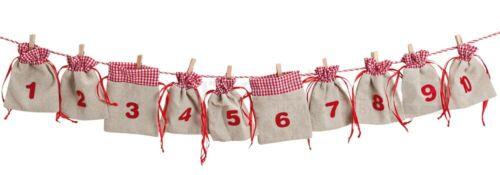 rot Adventskalender Girlande Stoffsäckchen zum Selbstbefüllen 200 cm beige