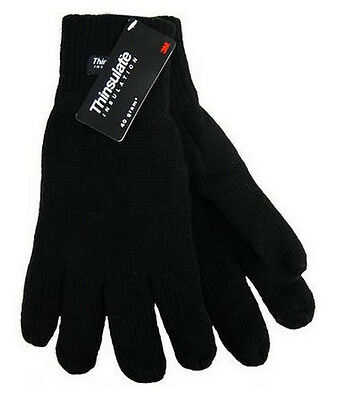 New Mens Knitted Acrylic Black Gloves Soft Feel Thinsulate Lining Size M/L BNWT