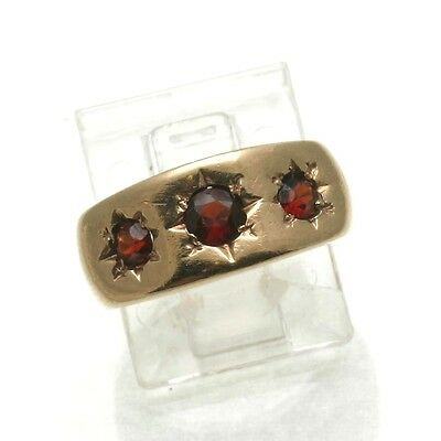Vintage Garnet 3 stone ring bands9k yellow gold red 2/3 carat ring star Estate