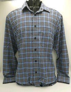 R-M-WILLIAMS-Mens-White-amp-Blue-Check-Shirt-REGULAR-FIT-Size-S