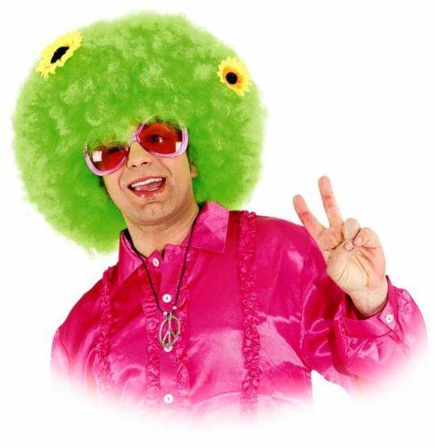 Afroperücke 70er Hippie Flower Power Perücke grün Schlagerparty Karneval