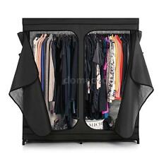 Double Fabric Clothes Closet Wardrobe Cabinet Storage Organizer Garment New M9M1