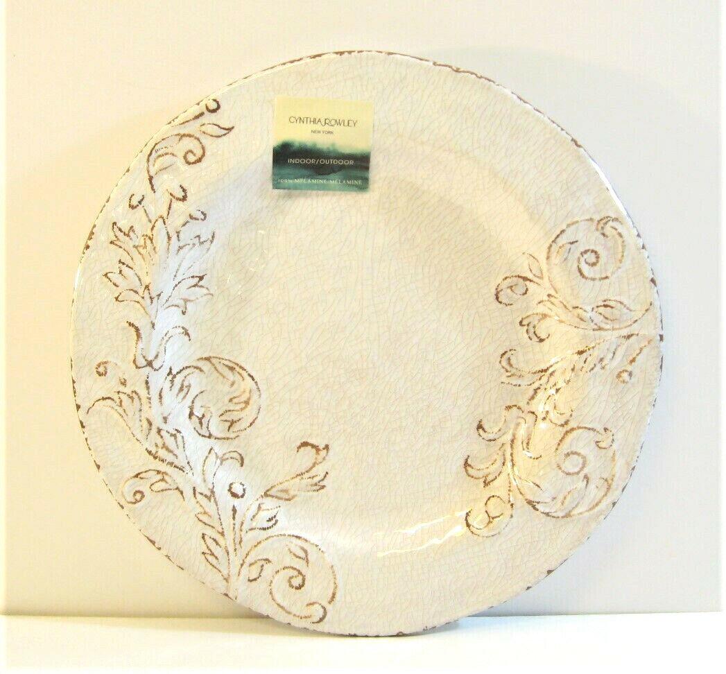 Set 8 Cynthia Rowley 11  assiettes craquelé Floral parchemin ivoire avec marron