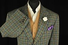 "Vtg Harris Tweed Houndstooth Country Tailored Hacking Jacket 44"" Short #180"