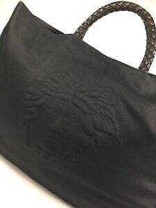 GIANNI-VERSACE-COUTURE-VINTAGE-039-98-MEDUSA-LINEN-LEATHER-TOTE-BAG-HANDBAG-ITALY