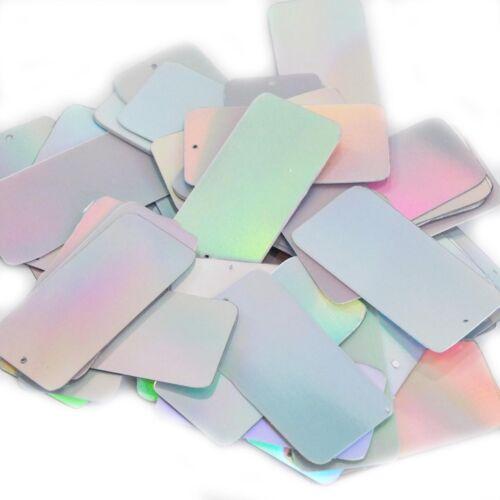 "Silver Lazersheen Reflective Sequins Rectangle Long 1.5/"" Couture Paillettes"