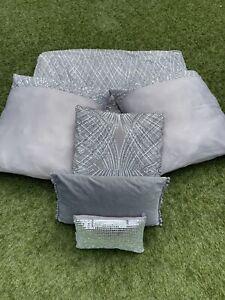 Kylie Minogue ESTA SILVER Bed Runner/Throw, Diamond, Square, & Boudoir Cushions