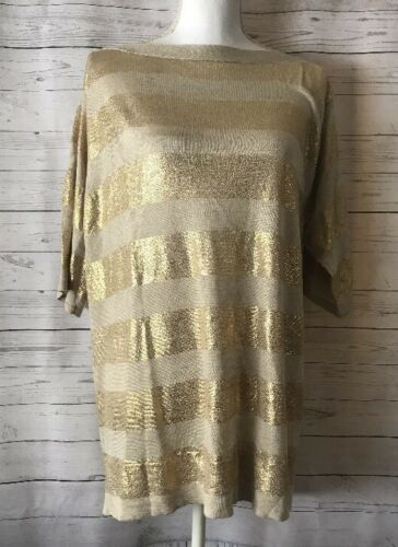 45100119819081 Sz Gold Sweater Chico's 2 Striped Metallic Travellers qvwx6z48