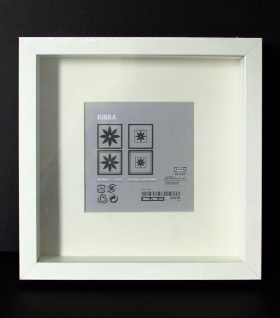 NEW SQUARE IKEA DEEP SHADOW BOX PHOTO FRAME WHITE MEMORY BOX 23 x 23cm GENUINE