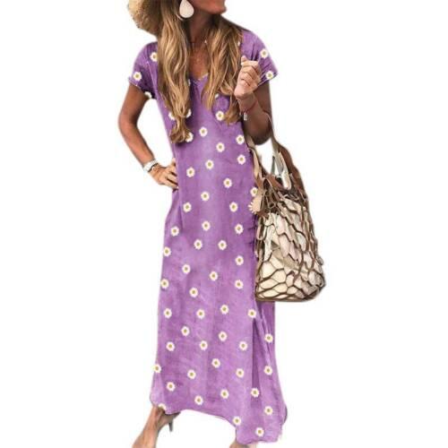 Womens Floral Daisy Print V-Neck T Shirt Dress Casual Baggy Sundress Plus Size