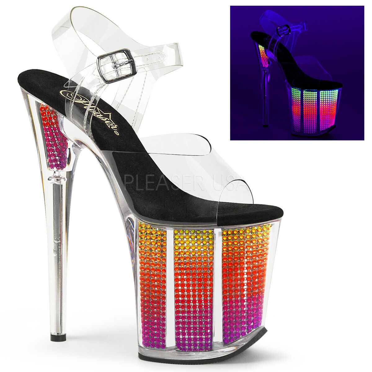 Sexy Stripper 8  High Heel Neon Multi Simulated Rhinestone Filled Platform shoes