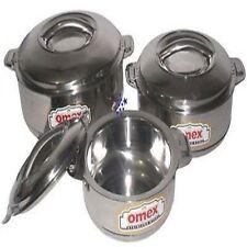 OMEX SET OF 3 STAINLESS STEEL HOT POTS 1000/2000/&3000ML CASSEROLE POTS.