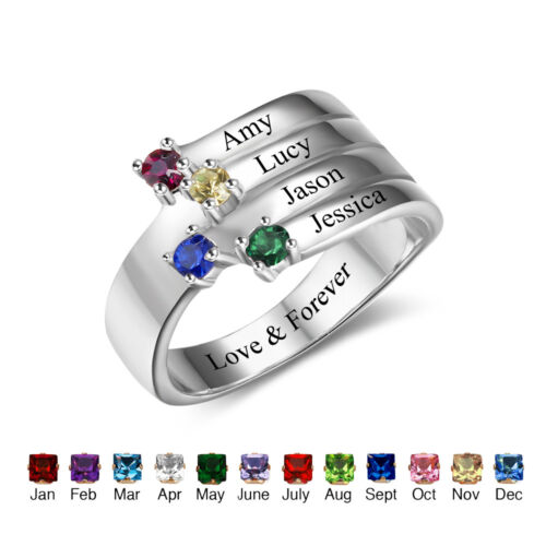 Personalized Custom Engraved Sterling Silver 4 Stone 4 Name Mothers Family Ring