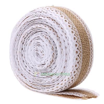 5.46yd Roll Vintage Lace Edged Hessian Burlap Ribbon Rustic Wedding Party Decor