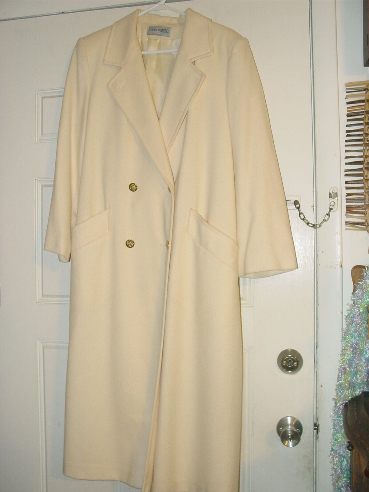 FORECASTER 9  10 WOOL LONG COAT IVORY DOUBLE BREASTED CLASSIC EXQUISITE
