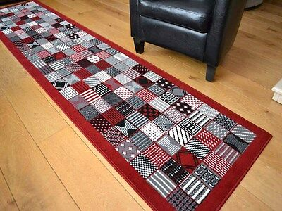Red Black Silver Patchwork Hall Runners Small Large Long Floor Carpet Rugs Mats