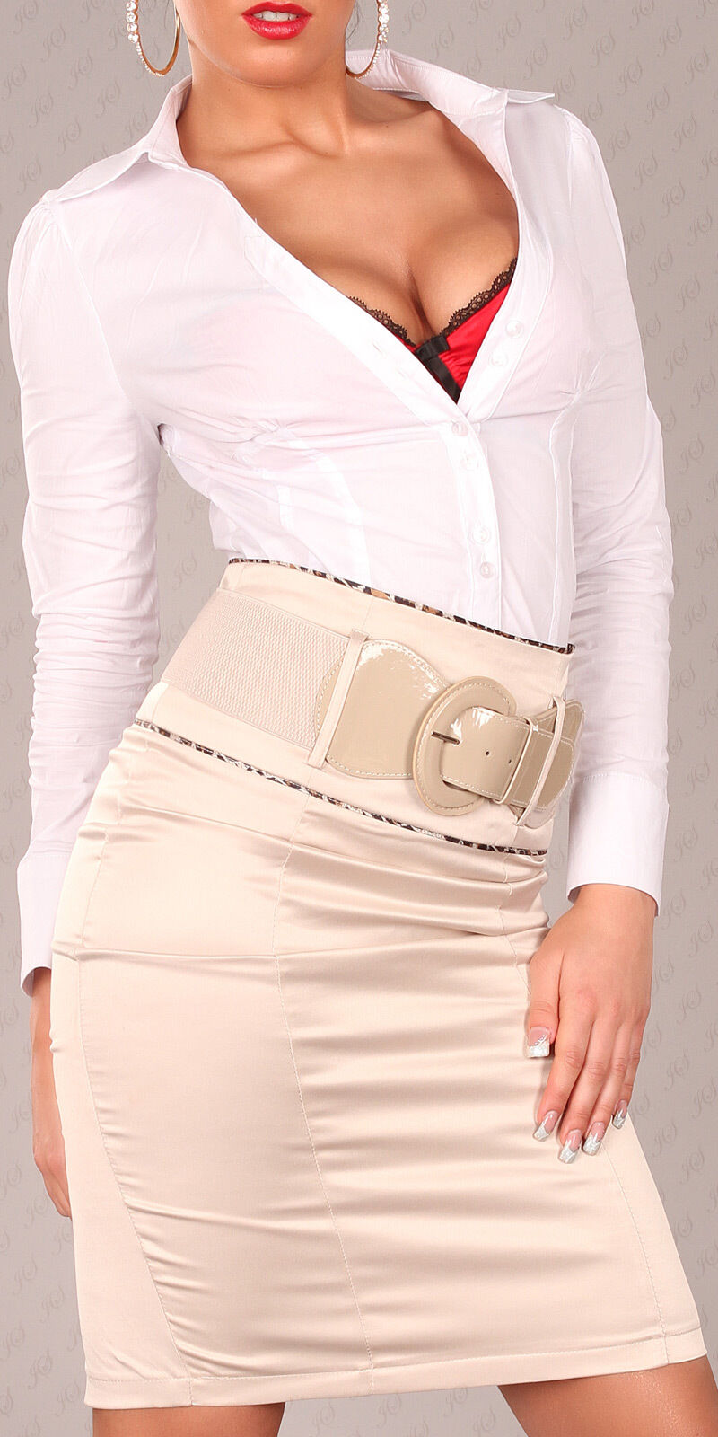 NEW SEXY HIGH WAISTED PENCIL SKIRT WITH BELT & PIPING OFFICE BUSINESS WORK PARTY