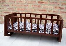 Handmade Wood Rocking 26.5 inch Doll Cradle Crib /Leopard Pillow/Mattress/Quilt