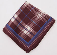 New $135 ERMENEGILDO ZEGNA Burgundy Plaid Check Wool and Silk Pocket Square