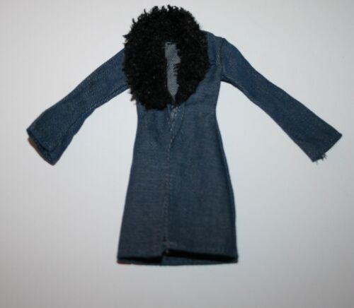 My Scene Barbie Blue Denim Coat with Black Faux Fur Collar