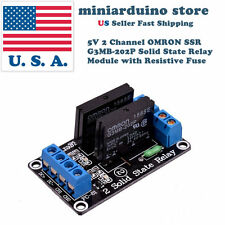 5V 2 Channel OMRON SSR G3MB-202P Solid State Relay Module with Resistive Fuse