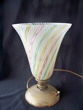 Circa 1950 Murano Art Glass Table Torchiere / Lamp Latticino w Gold flecked Base